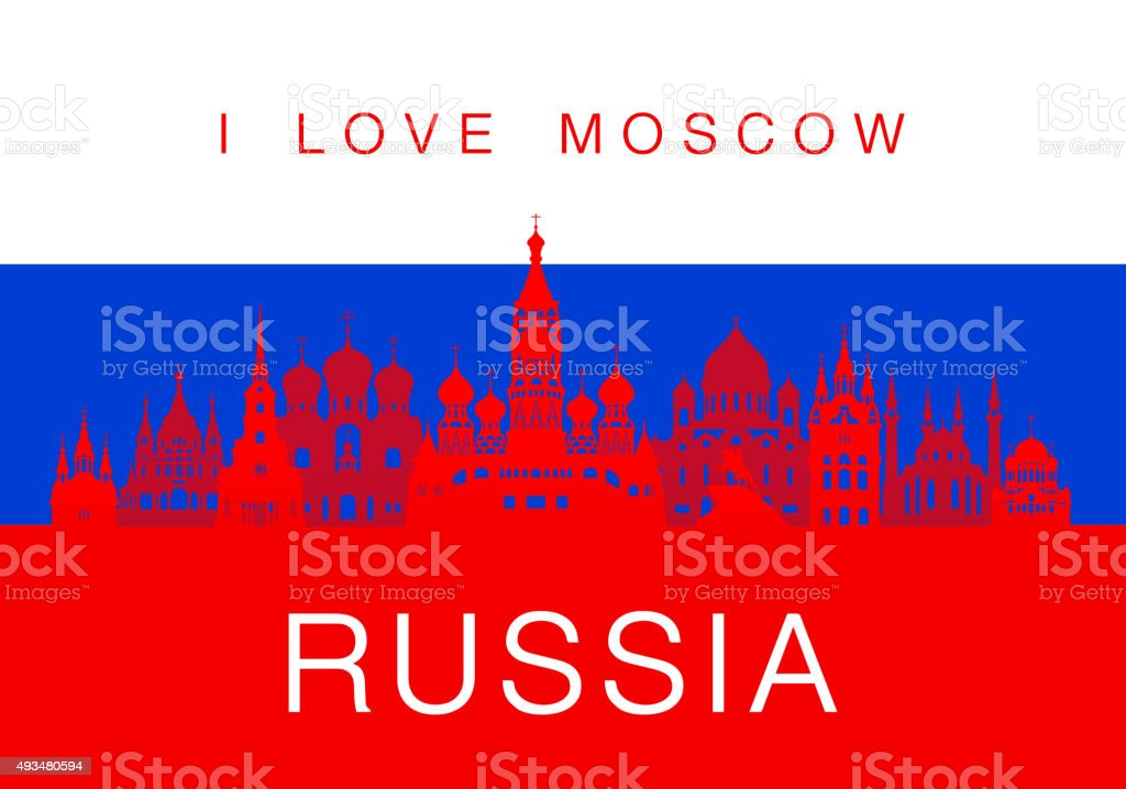 Russia Travel Landmarks. vector art illustration