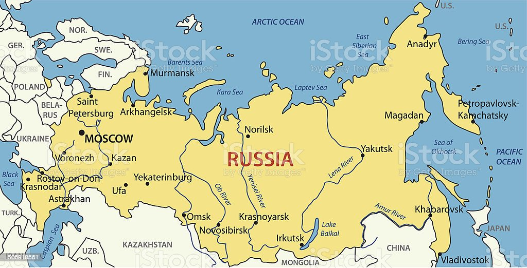 Russia - vector map royalty-free stock vector art