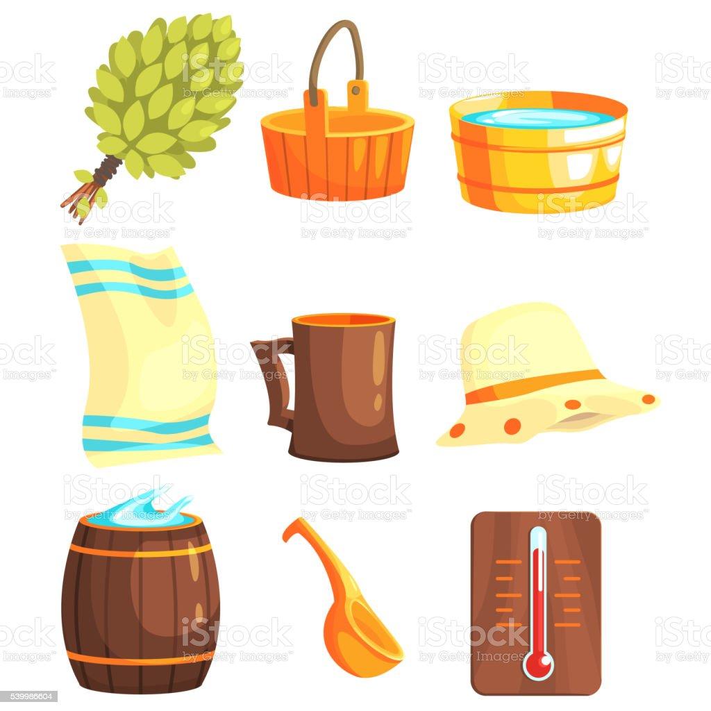 Russian Bathhouse Inventory Set vector art illustration
