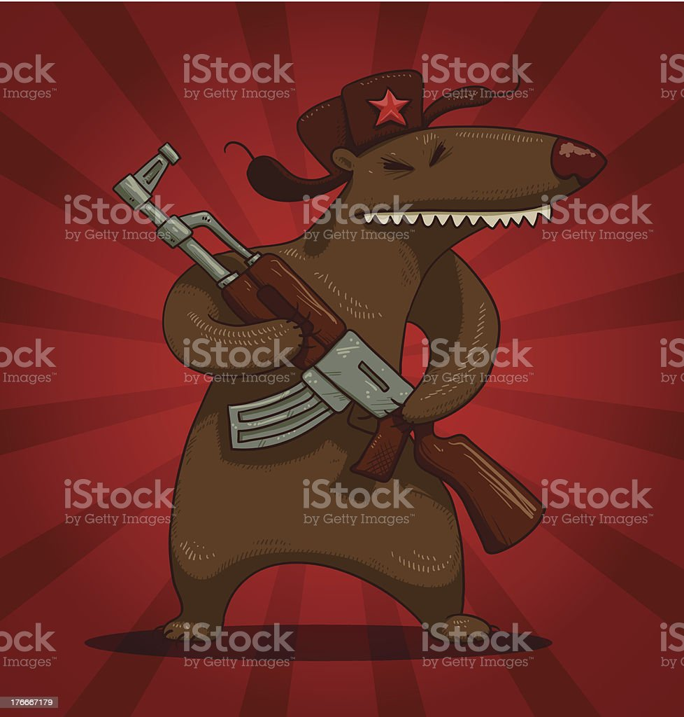 Russian bear with a submachine gun royalty-free stock vector art