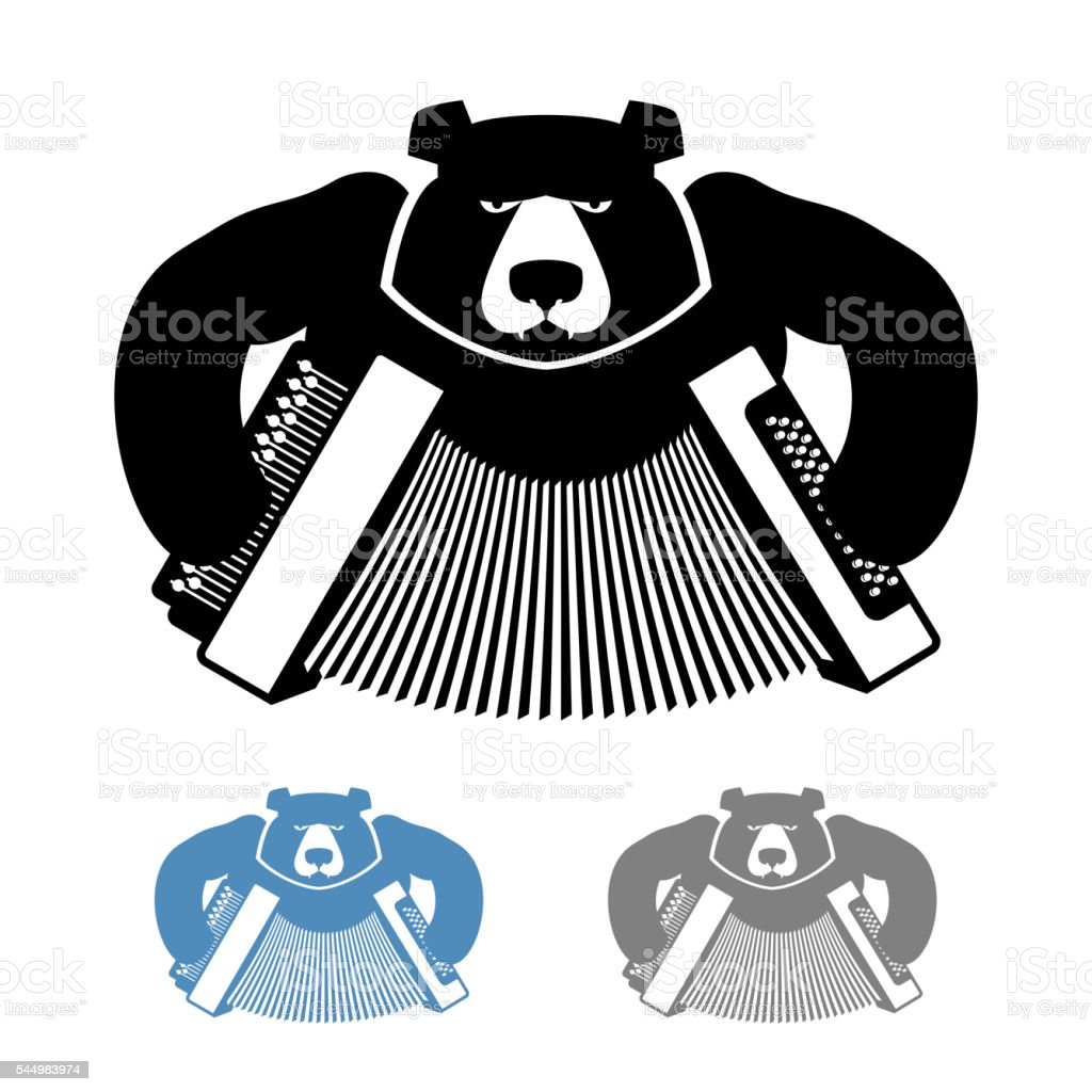 Russian bear with accordion icon flat style. Wild beast vector art illustration