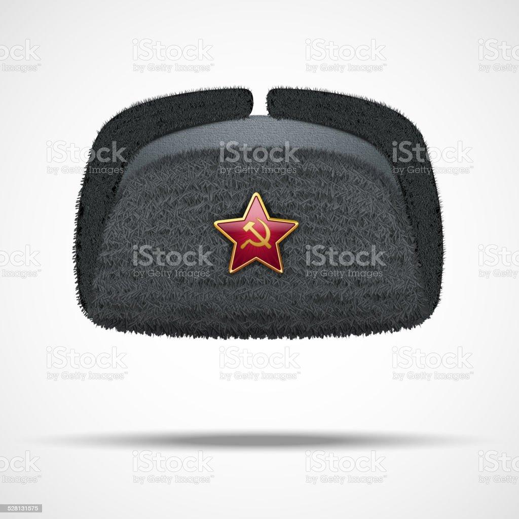 Russian black winter fur hat ushanka with red star. vector art illustration