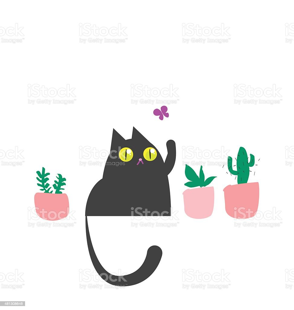Russian blue cat playing with butterfly vector art illustration