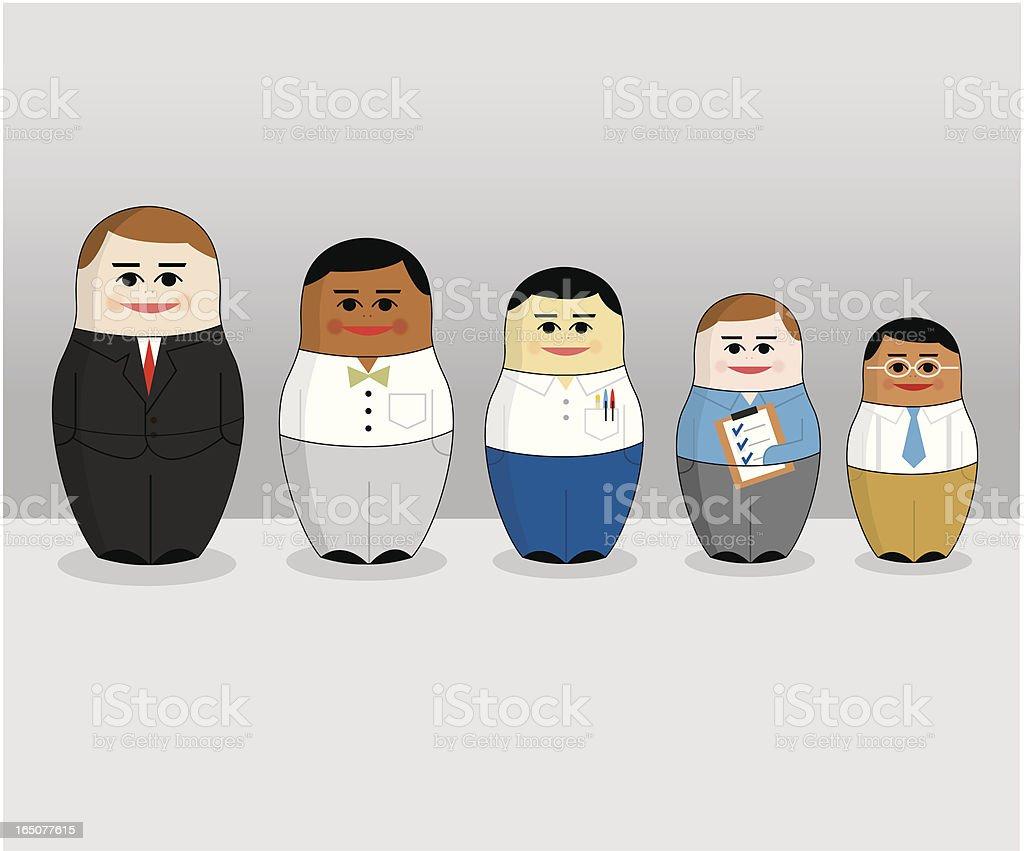 Russian Business Dolls vector art illustration