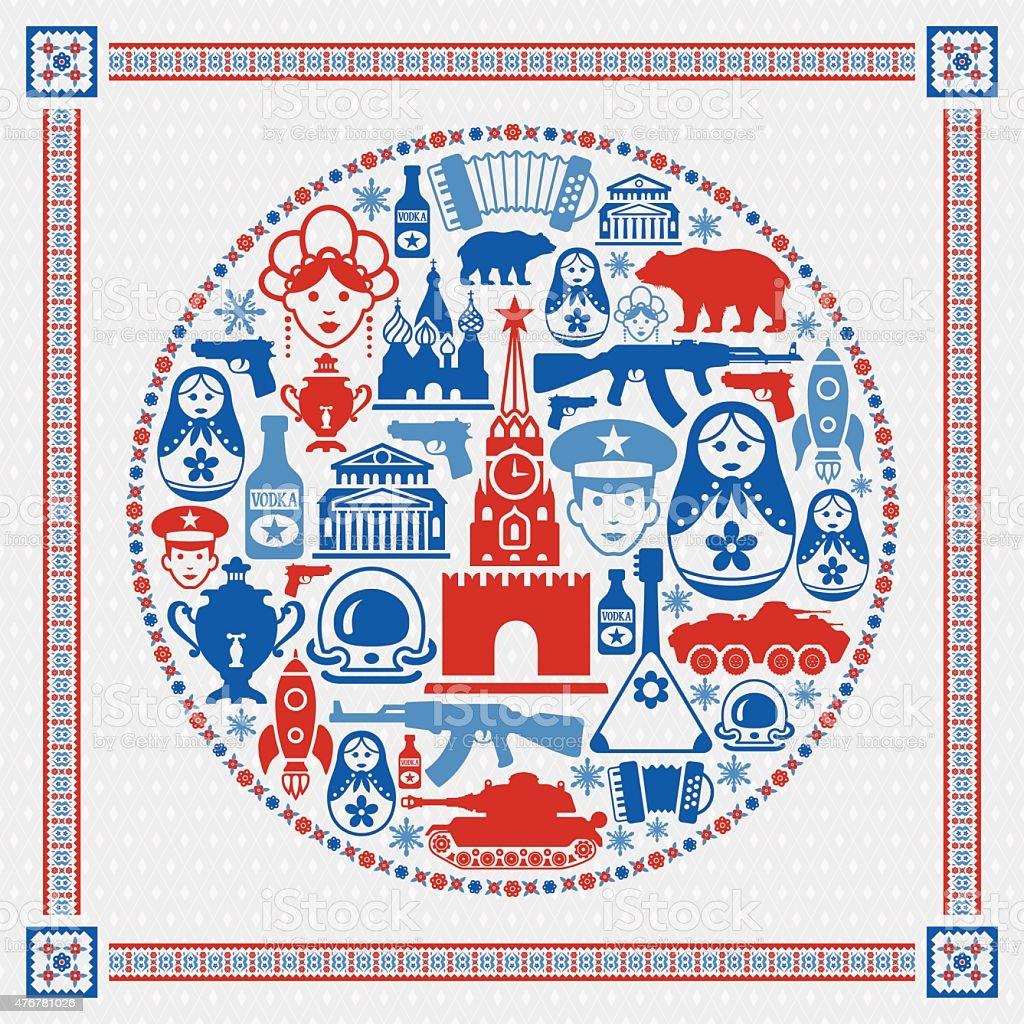 Russian Collage vector art illustration