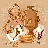 Russian cuisine, samovar, tea, pancakes, Russia culture