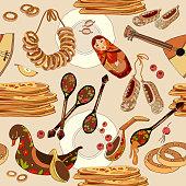 Russian cuisine seamless pattern