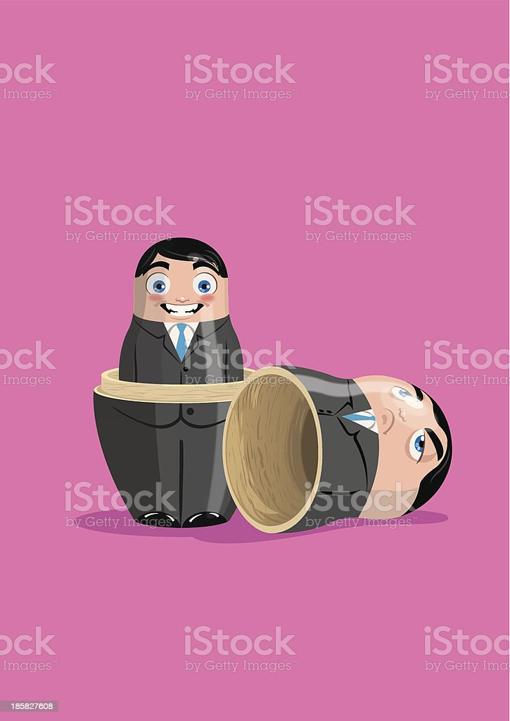 Russian doll business opened vector art illustration