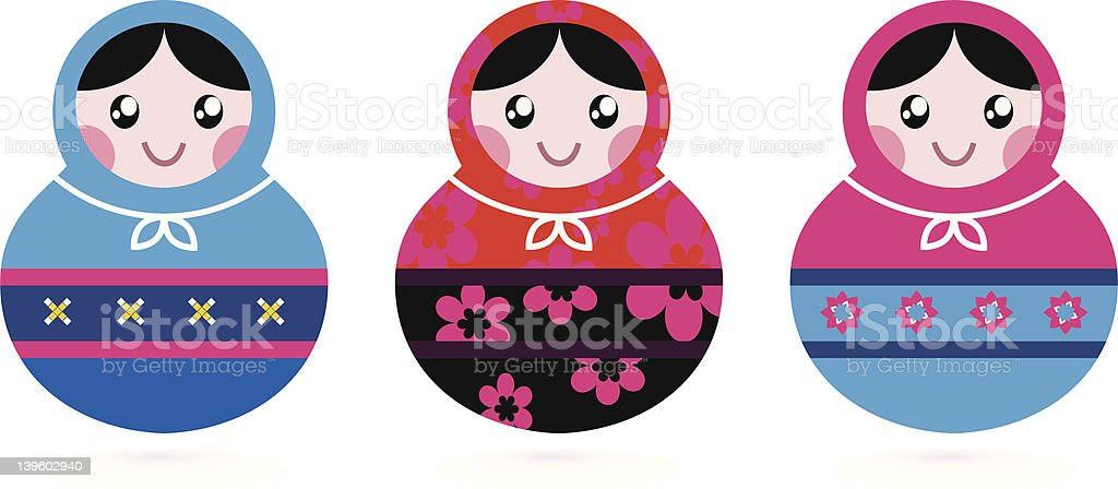 Russian doll collection isolated on white royalty-free stock vector art