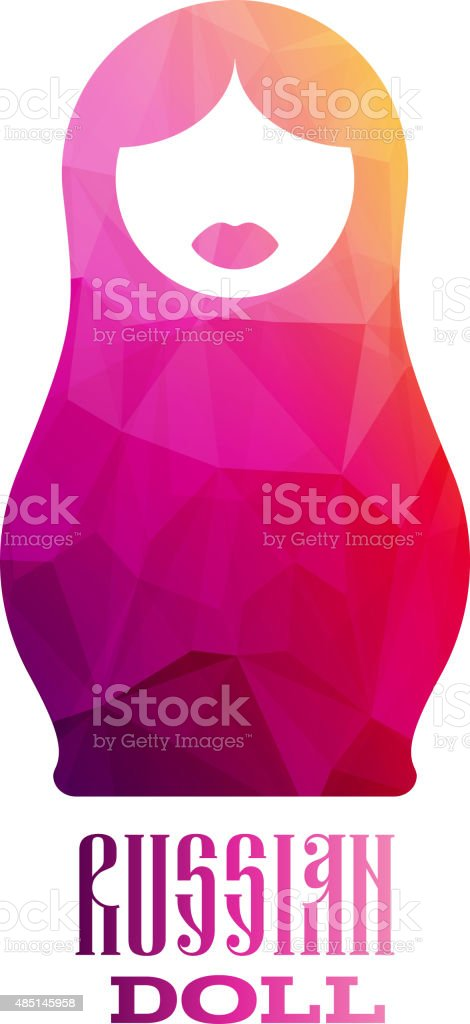 Russian doll icon logo silhouette mosaic faceted illustration vector art illustration