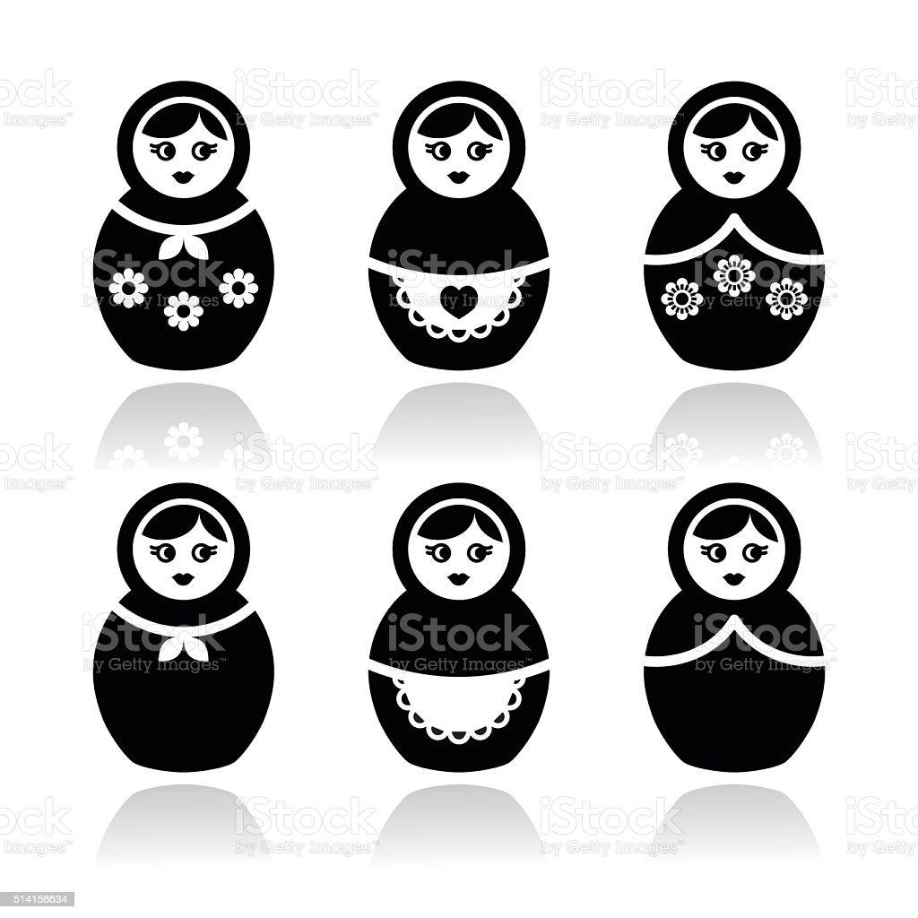 Russian doll, retro babushka vector icons set vector art illustration