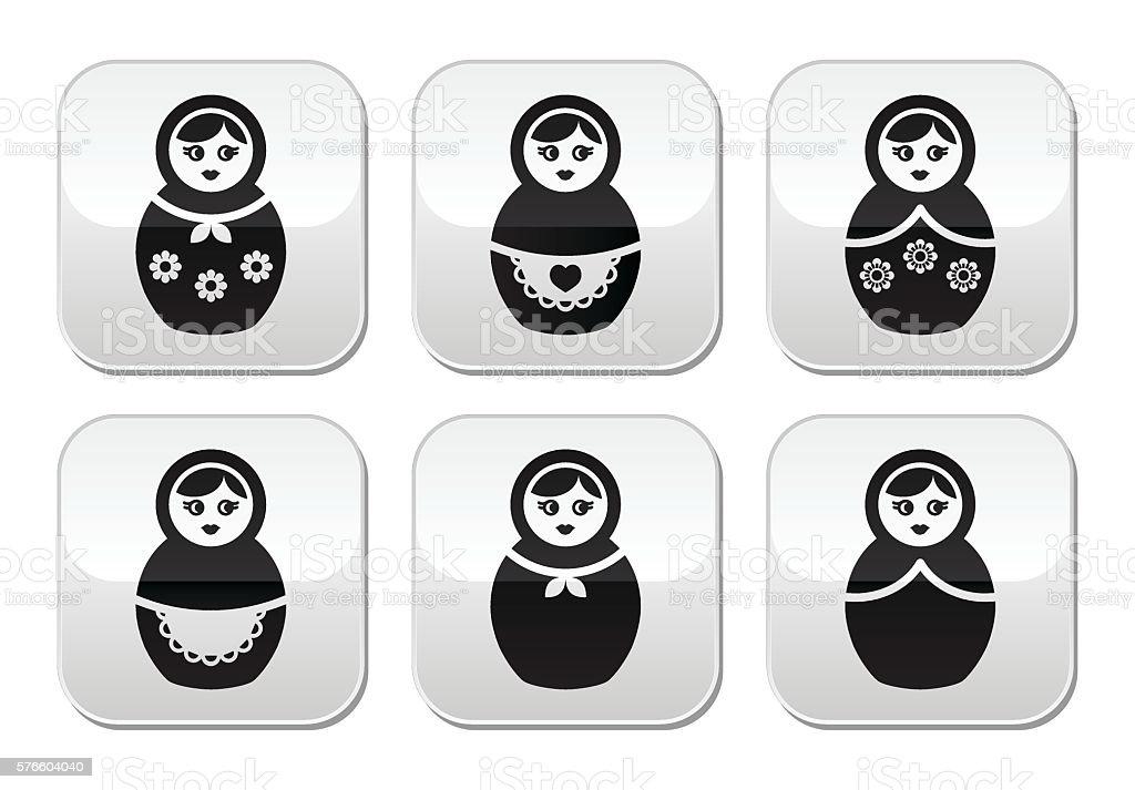 Russian doll, retro matrioshka vector buttons set vector art illustration