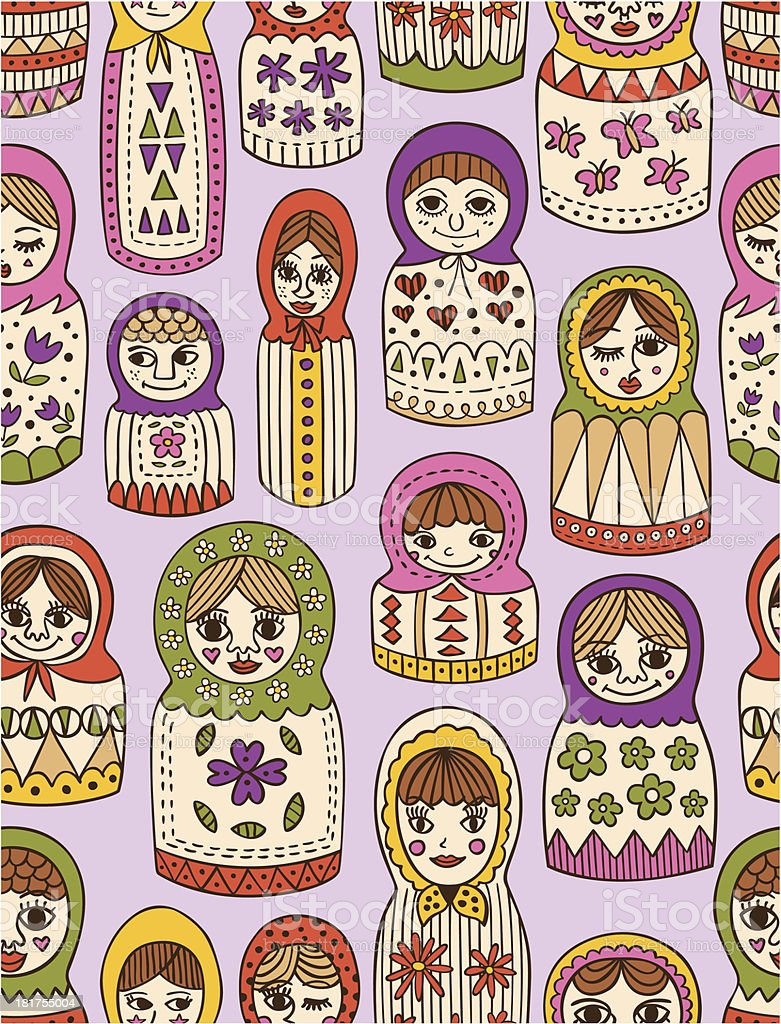russian doll seamless pattern royalty-free stock vector art