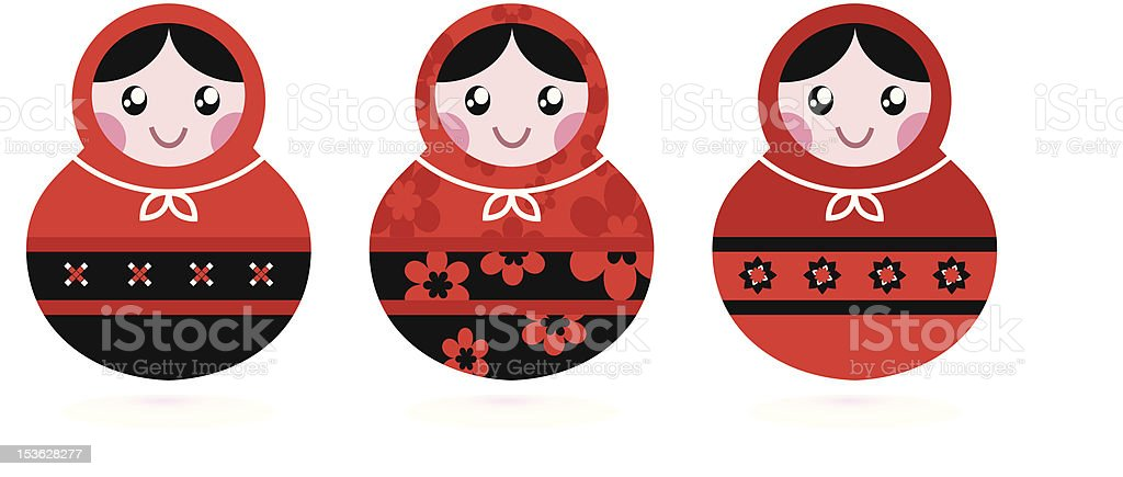 Russian doll set isolated on white ( black & red ) royalty-free stock vector art