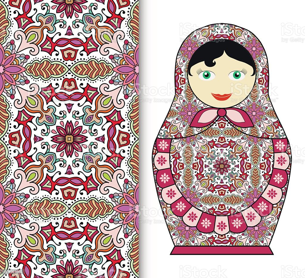 Russian doll toy souvenir, seamless geometric floral pattern vector art illustration