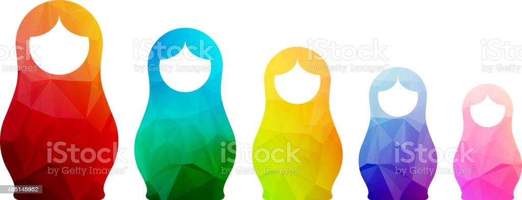 Russian dolls icons set logo silhouette mosaic faceted illustration vector art illustration