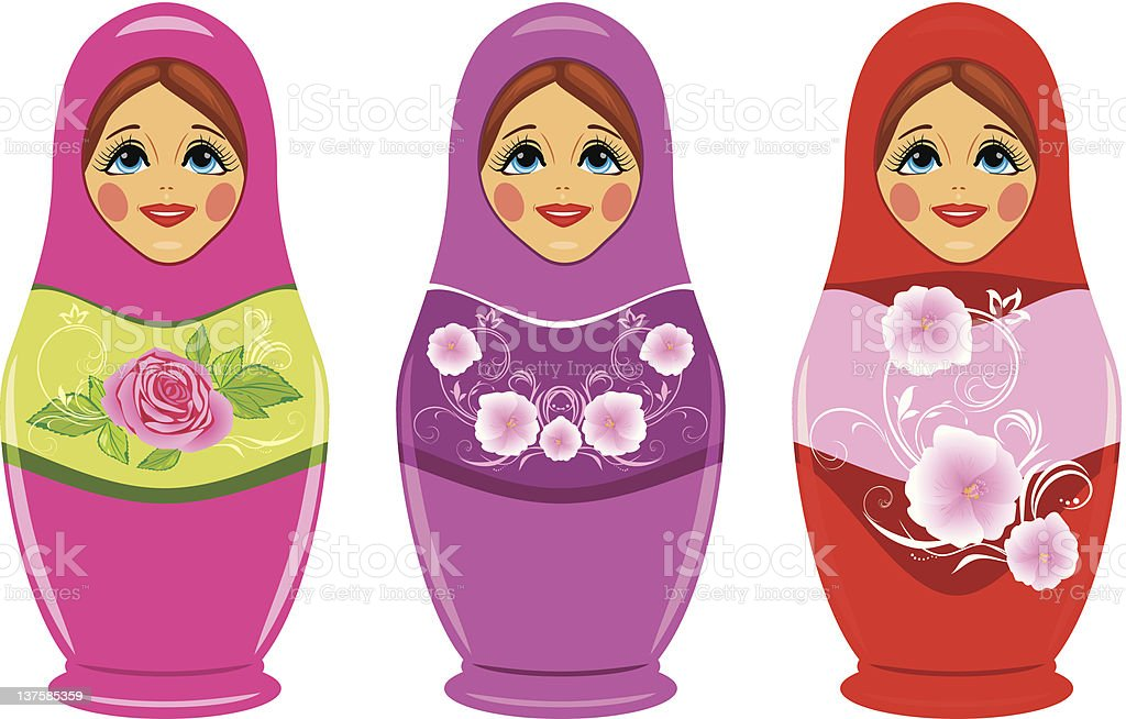 Russian dolls isolated on the white royalty-free stock vector art