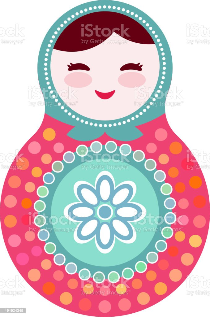 Russian dolls matryoshka on white background, pink and blue colors. vector art illustration