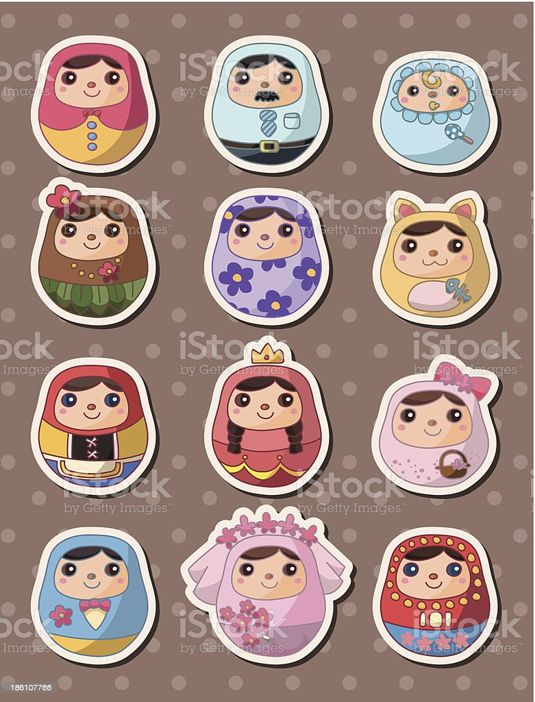 Russian dolls stickers royalty-free stock vector art