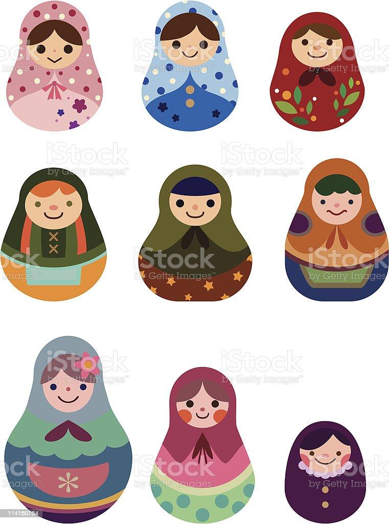 Russian dolls royalty-free stock vector art
