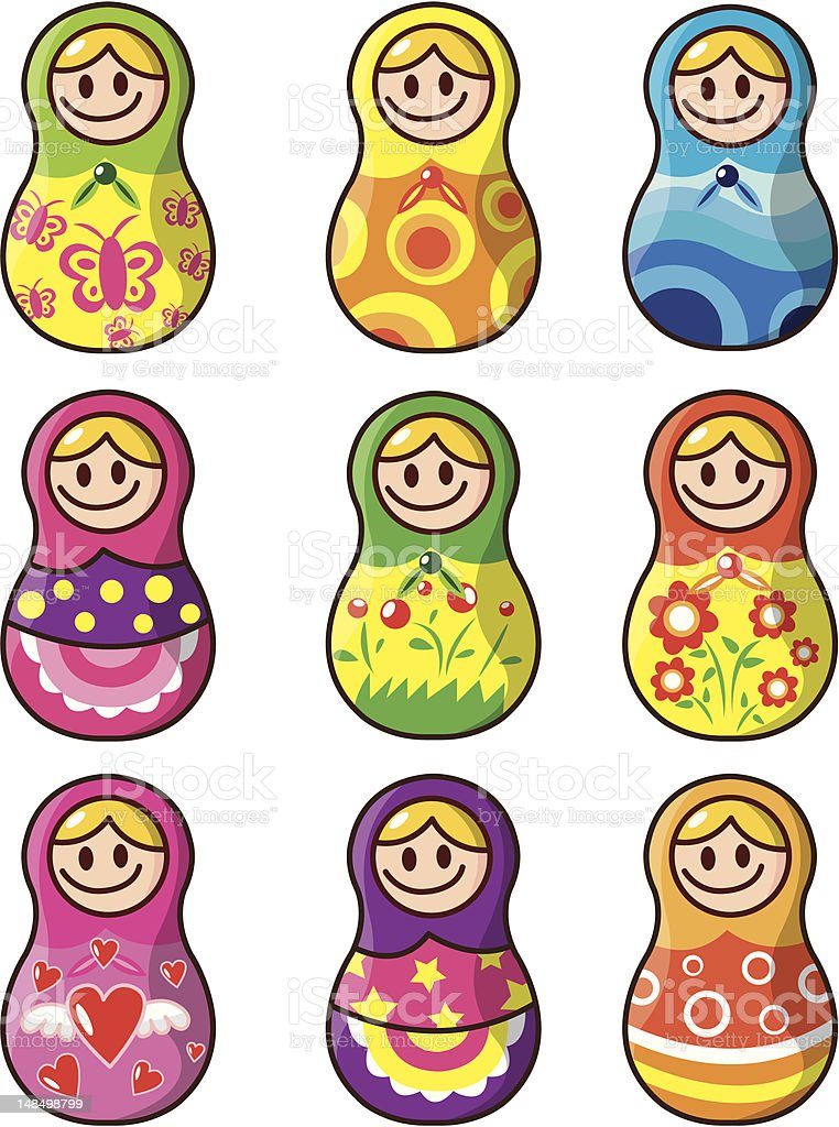Russian Dolls royalty-free stock vector art