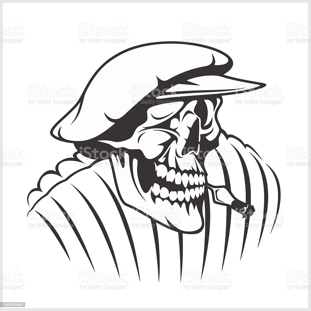 Russian farmer - skull and symbols vector art illustration