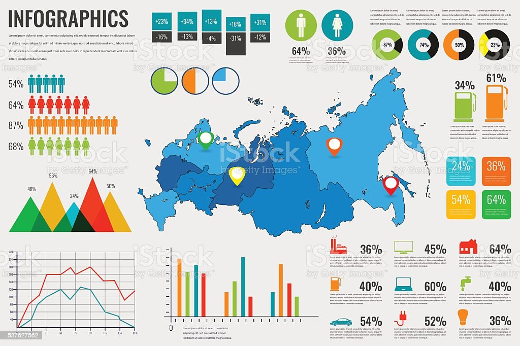Russian Federation map with Infographics elements. Infographics layouts. Vector royalty-free stock vector art