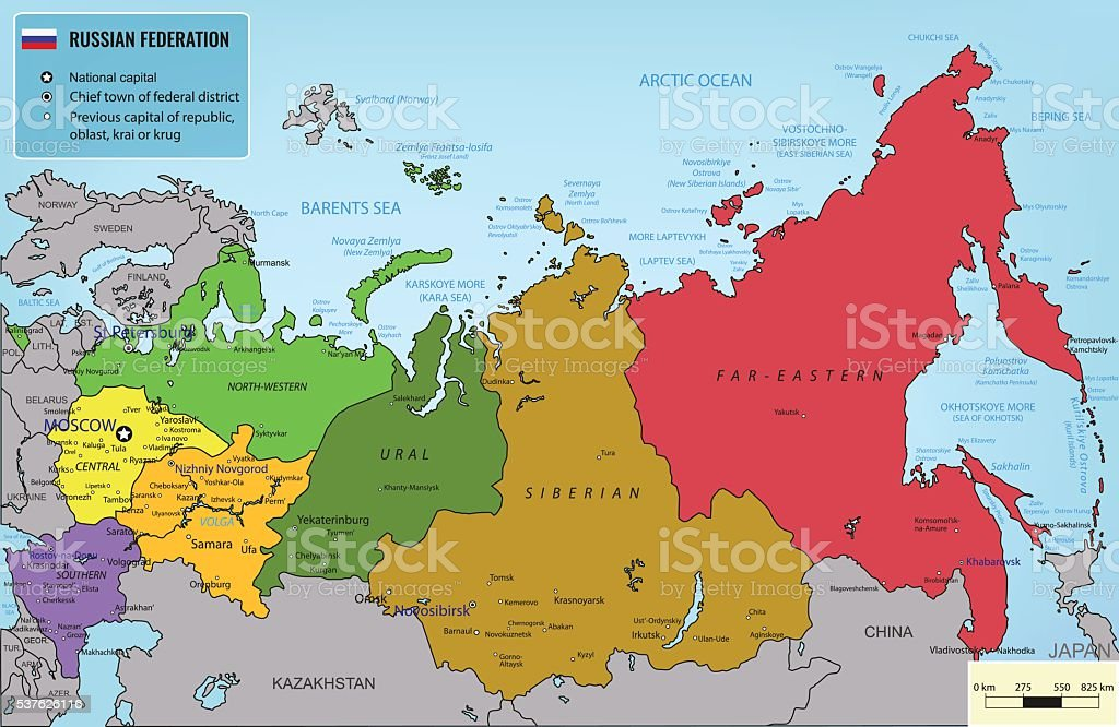 Russian Federation map with selectable territories. Vector vector art illustration