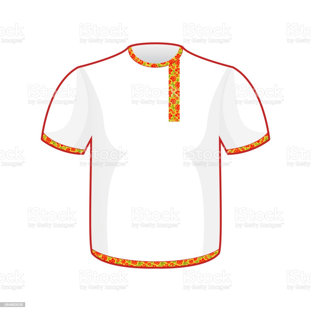 Russian folk mens T-shirt. Traditional ancient national clothes vector art illustration