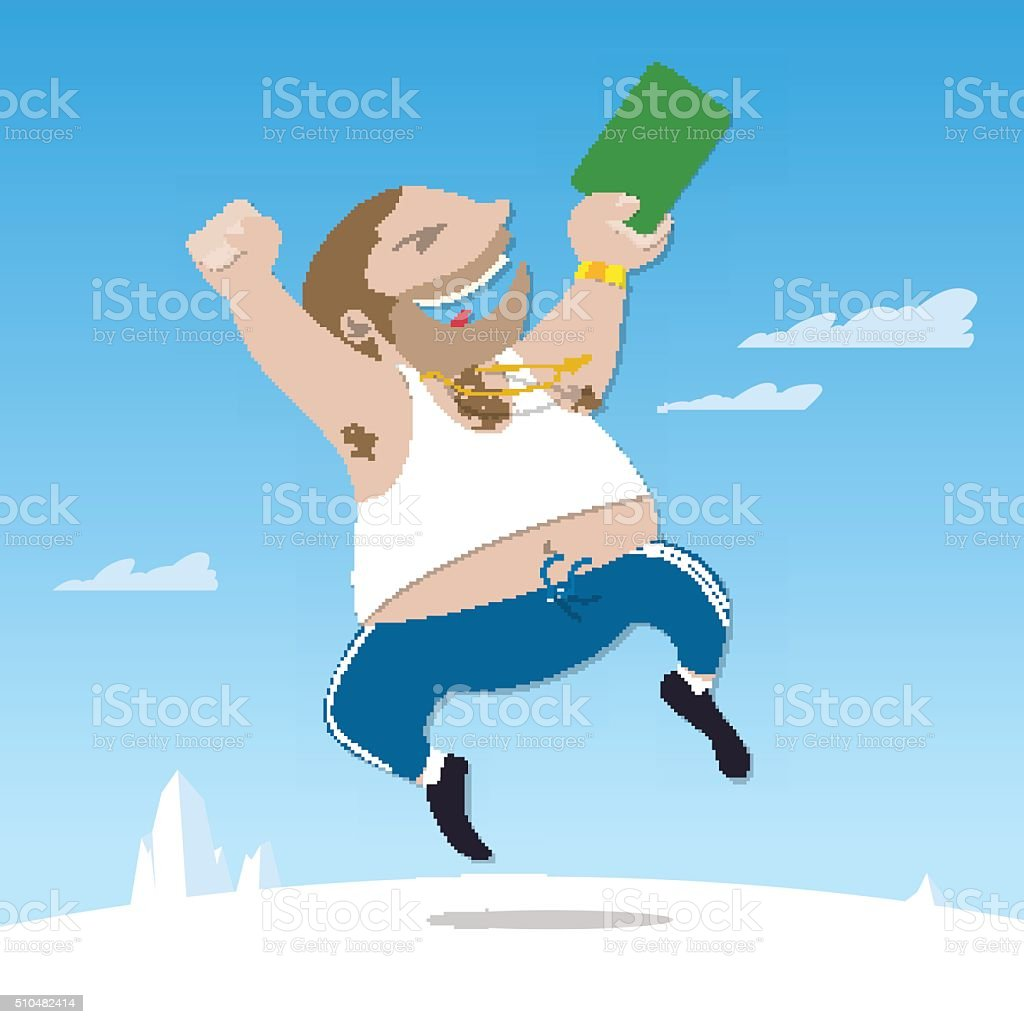 Russian got a green card and jumping for joy vector art illustration