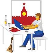 Russian hacker with traditional elements - Kremlin, vodka, balalaika