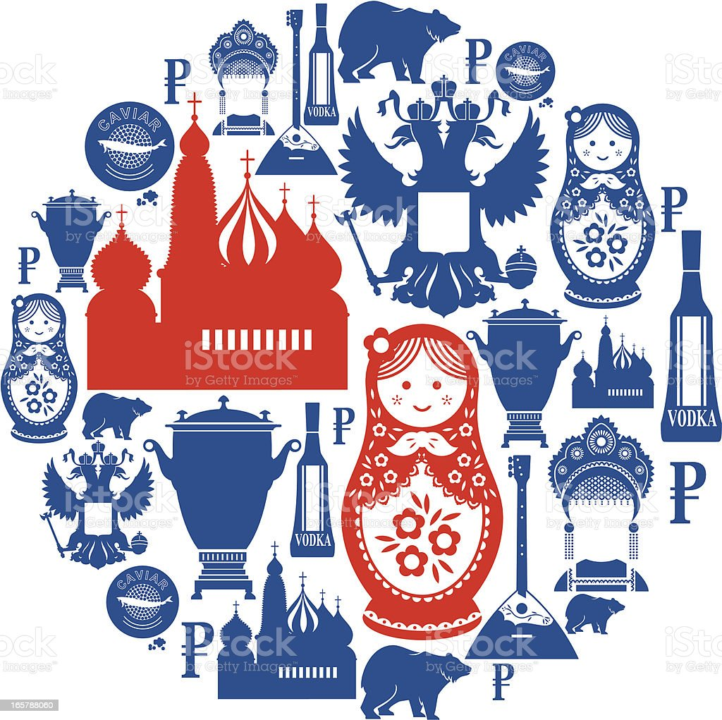 Russian Icon Montage vector art illustration