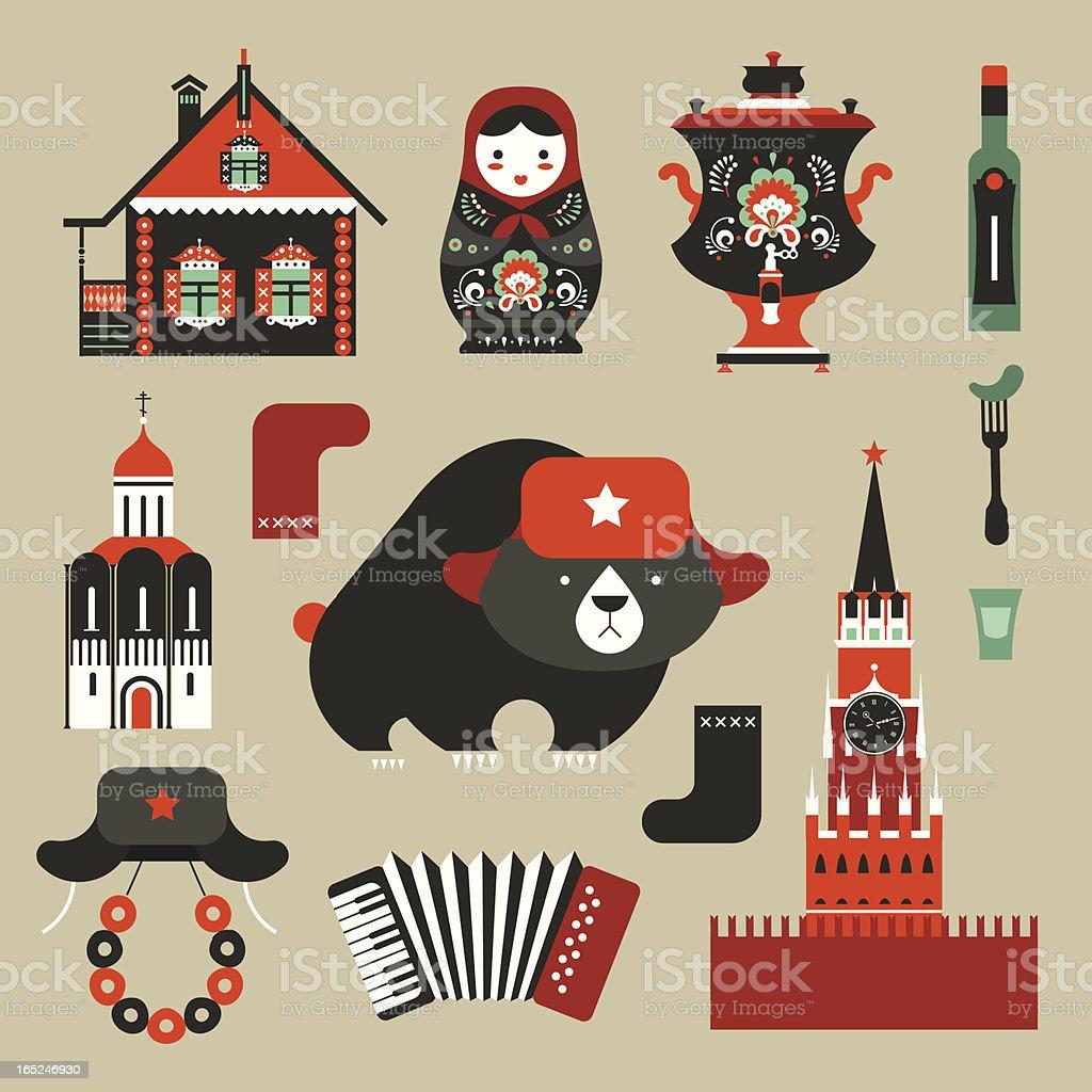 Russian icons vector art illustration