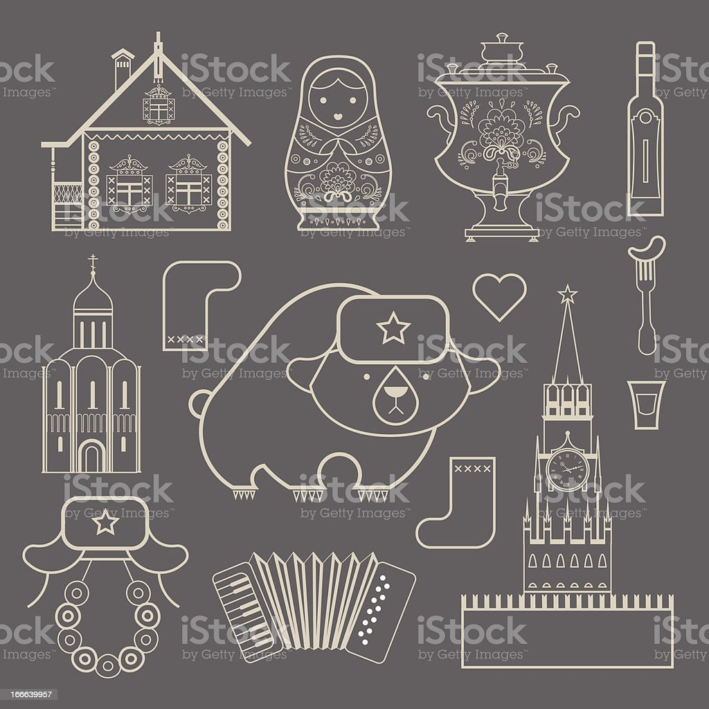 Russian icons royalty-free stock vector art