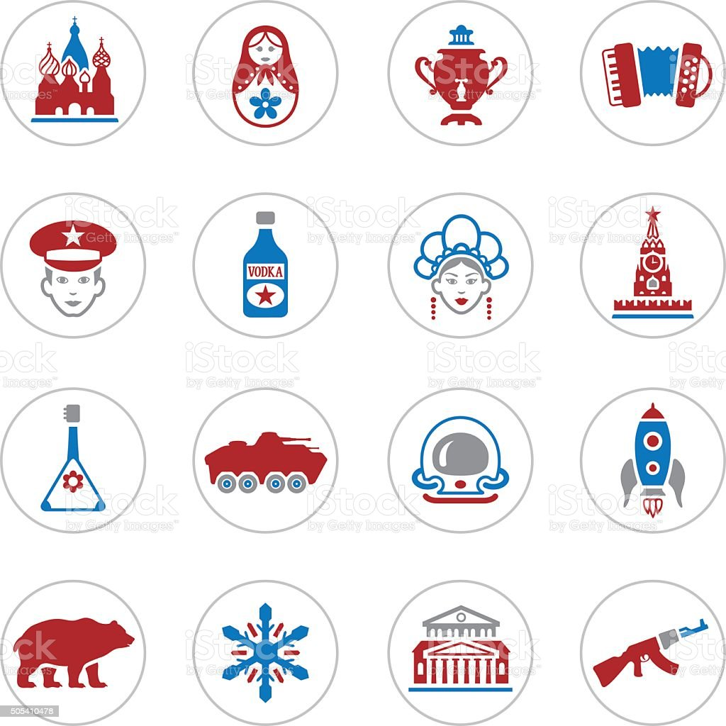 Russian Icons vector art illustration