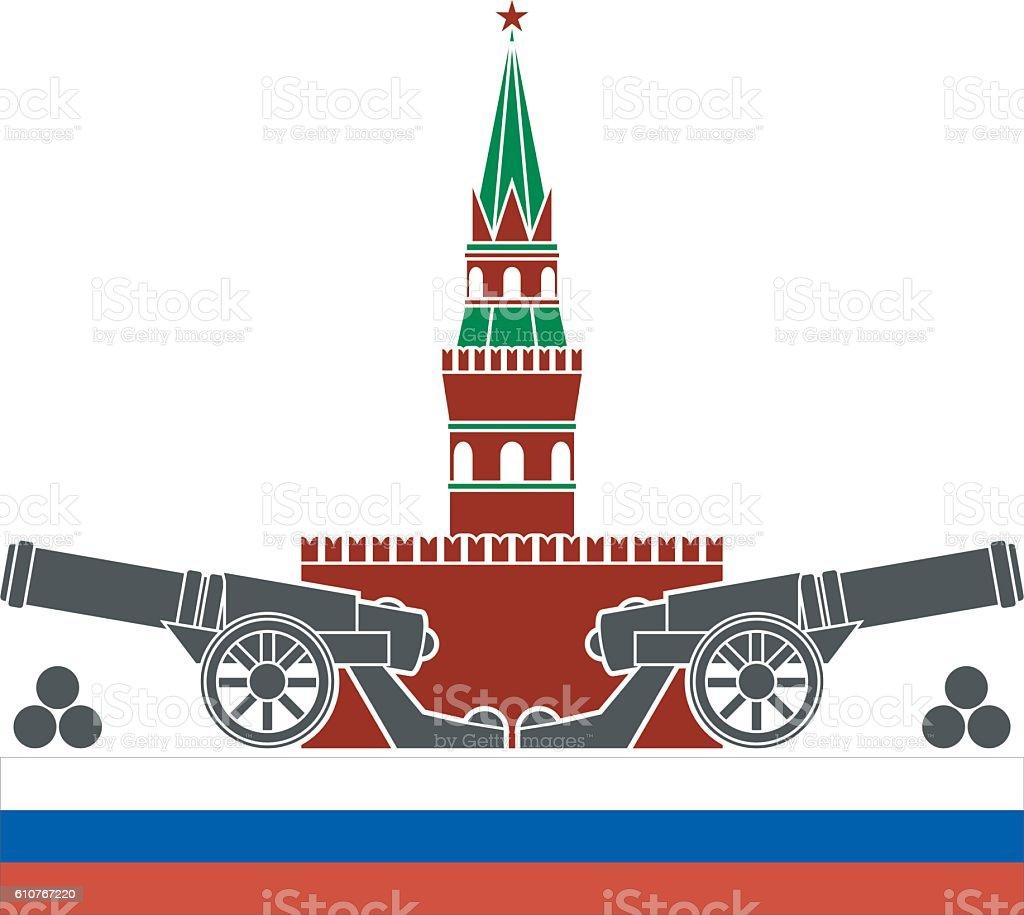 russian kremlin vector art illustration