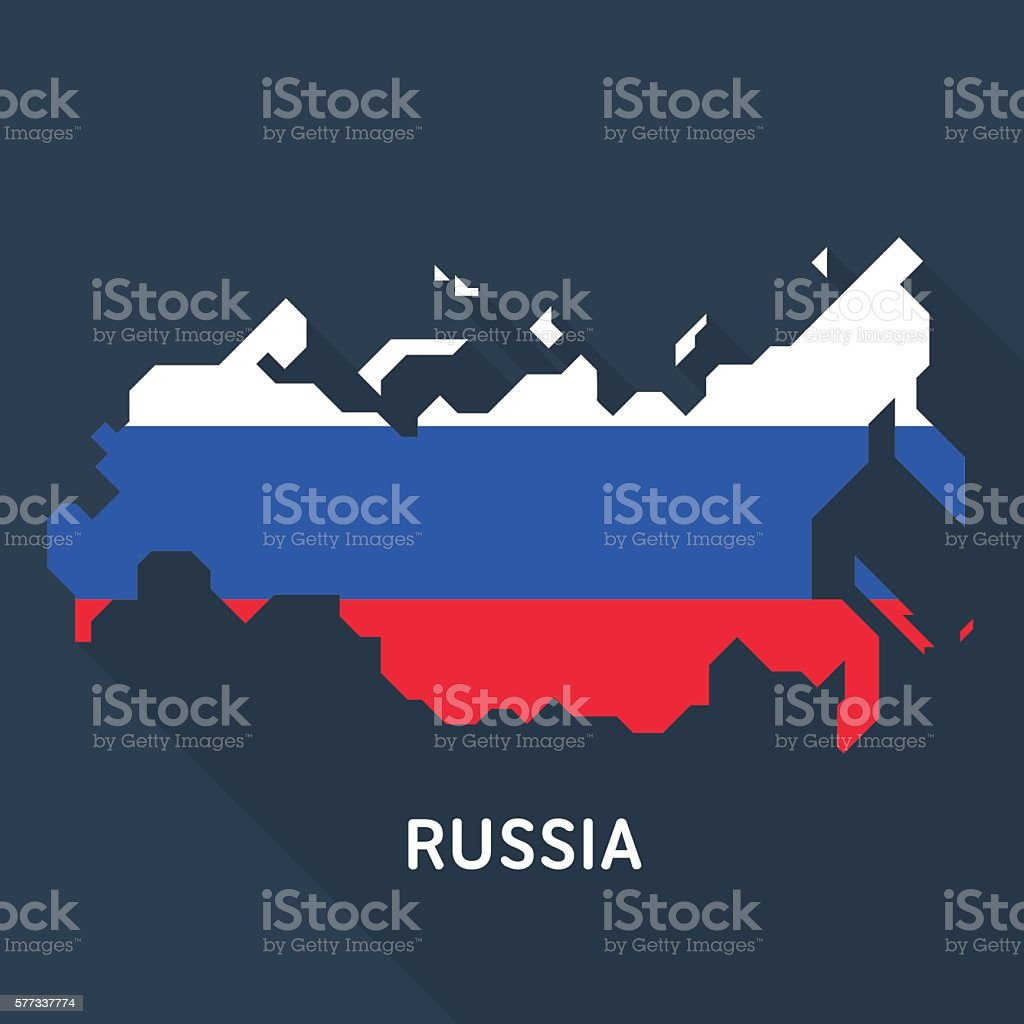 Russian map on blue background vector art illustration