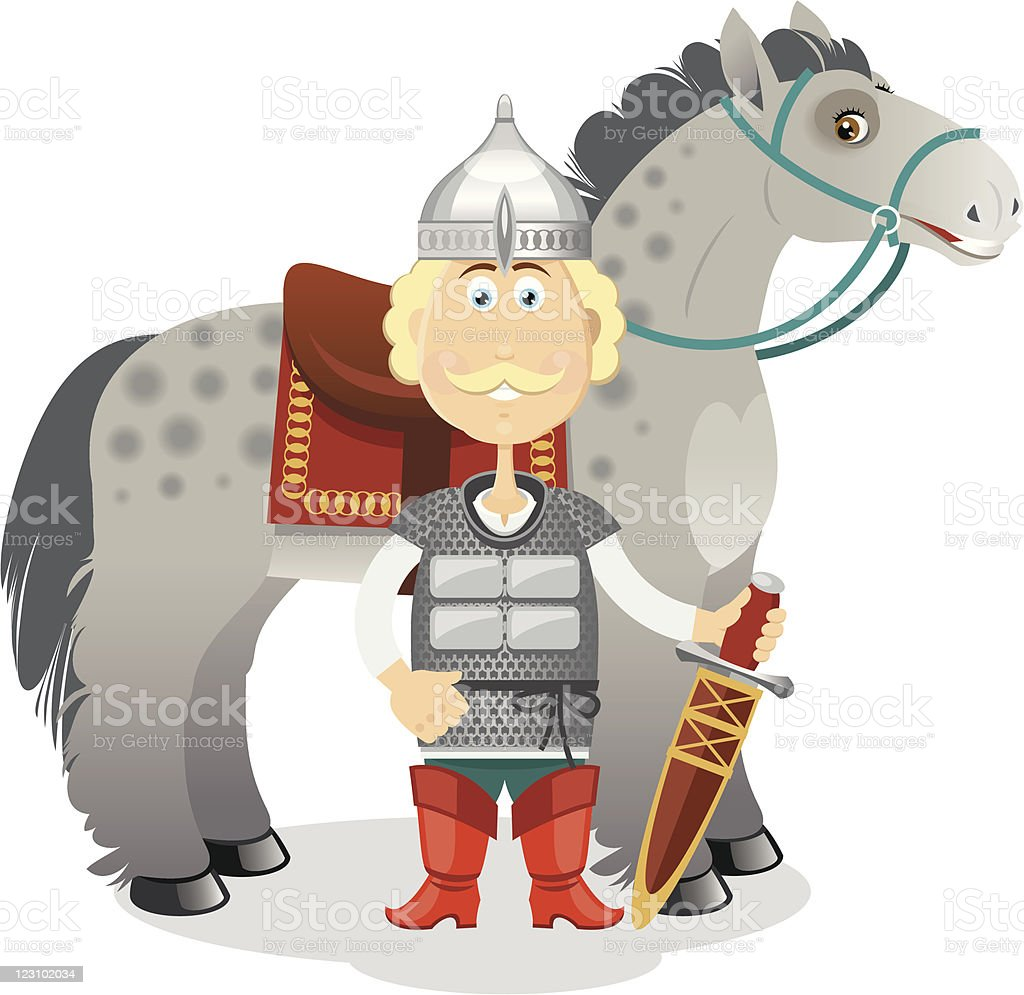 Russian medieval heroic warrior with his horse royalty-free stock vector art