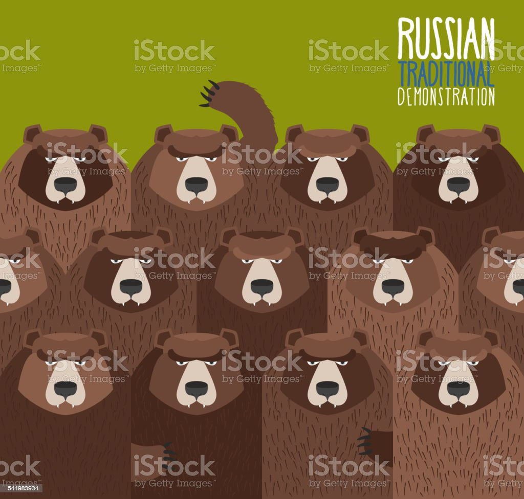 Russian national demonstration.  Bears came out on strike. vector art illustration