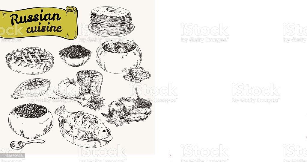 Russian national food vector art illustration