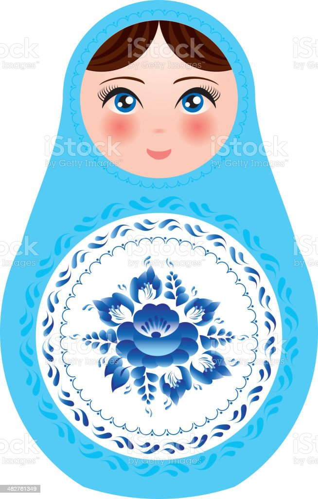 Russian nesting dolls white background with blue flowers vector royalty-free stock vector art