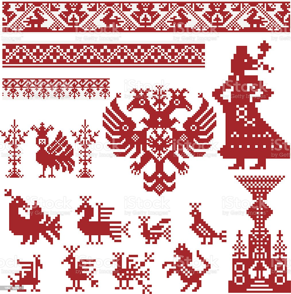 Russian old embroidery and patterns. Set 1 royalty-free stock vector art