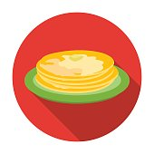 Russian pancakes icon in flat style isolated on white background