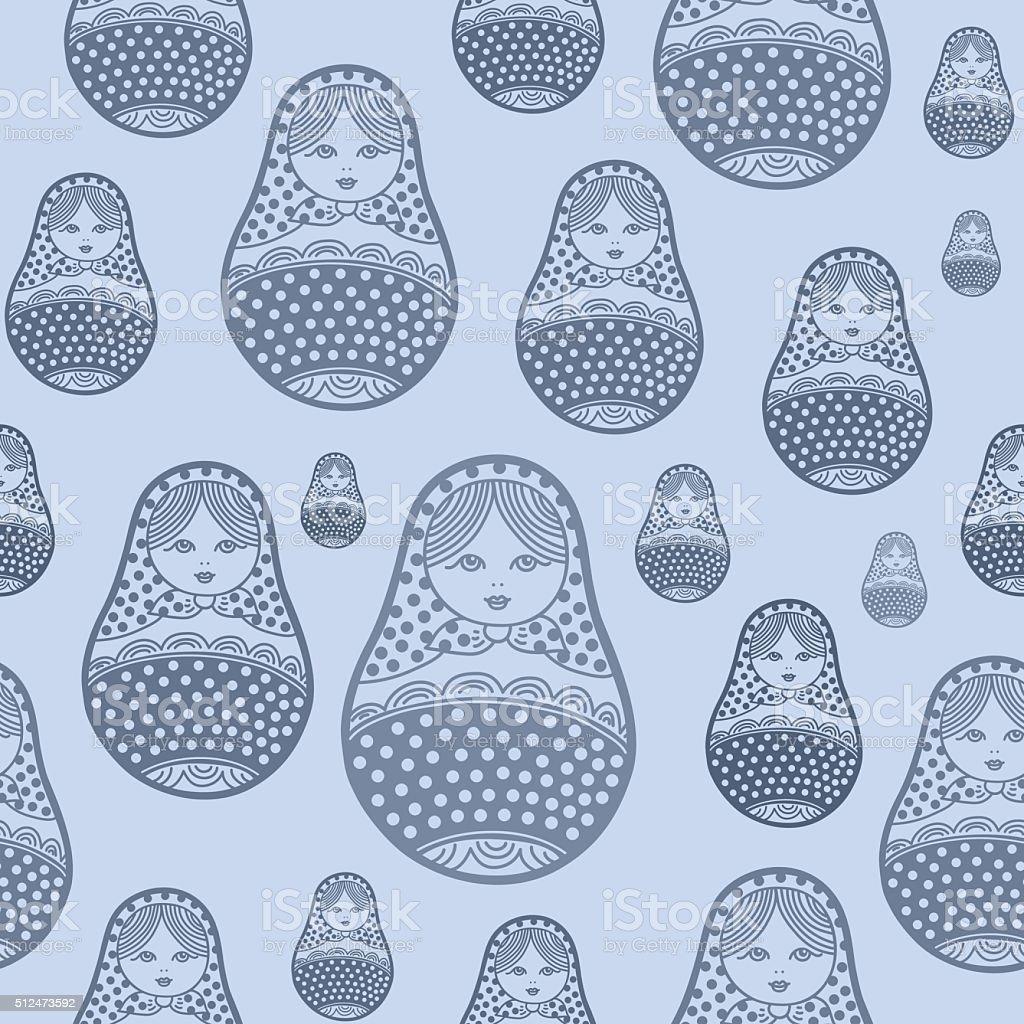 Russian retro matryoshka doll illustration vector art illustration