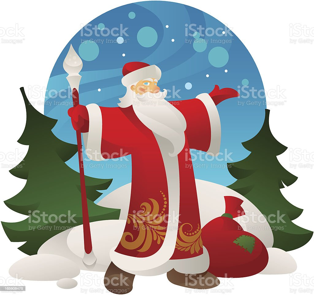 Russian Santa Claus - Grandfather frost royalty-free stock vector art