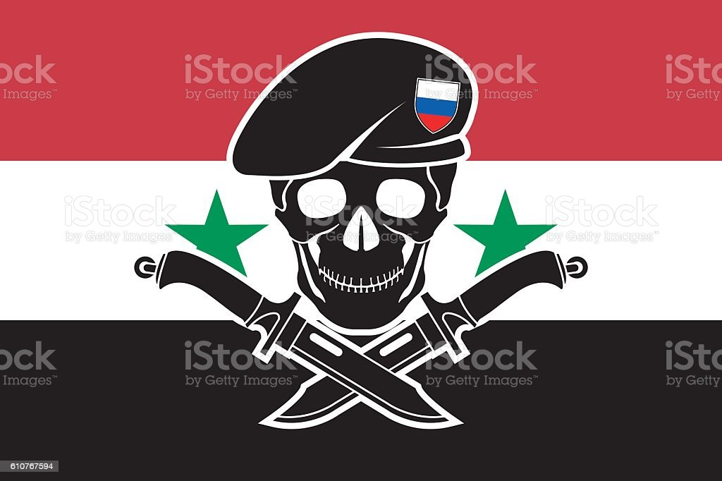 russian special forces and syrian flag vector art illustration