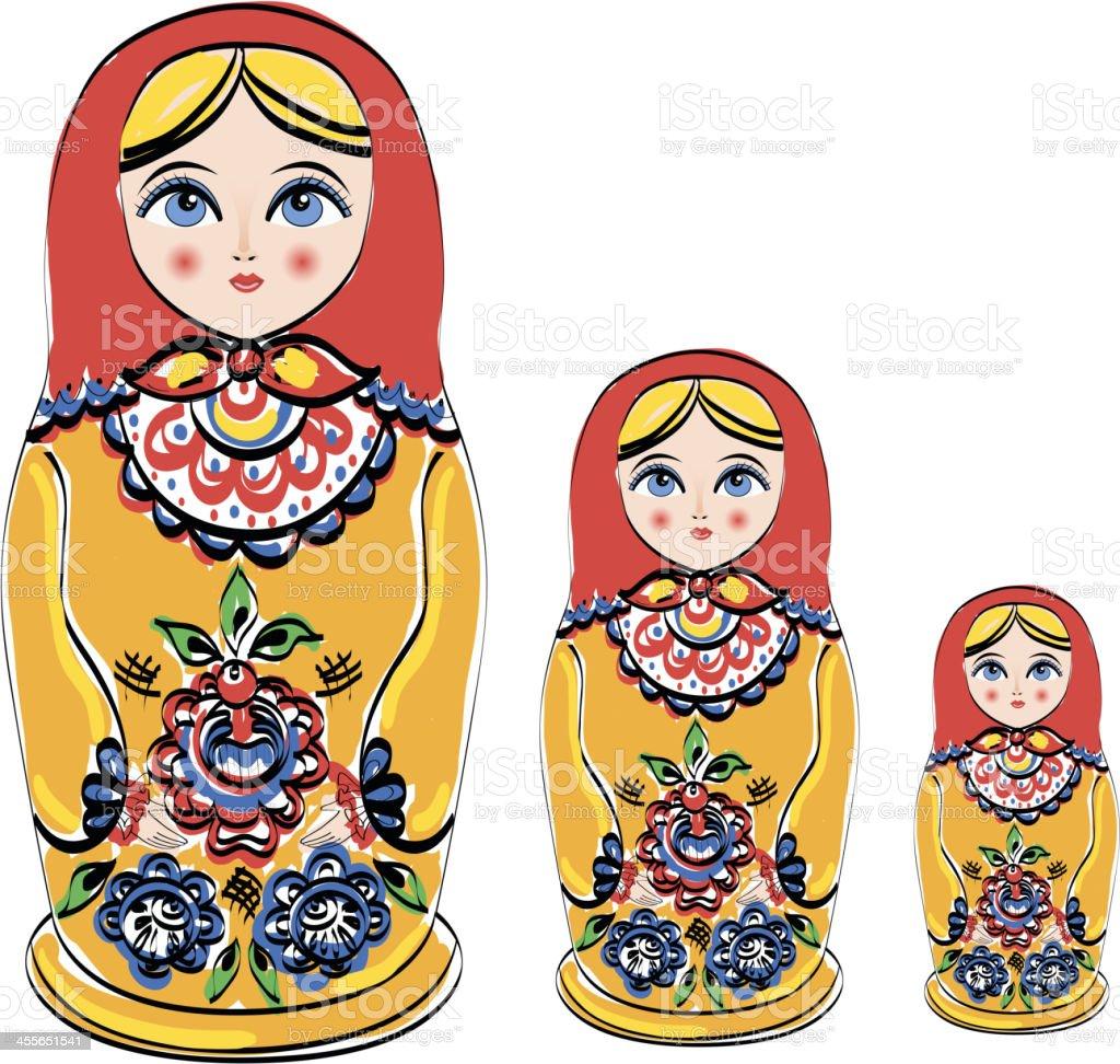 Russian tradition matryoshka dolls. royalty-free stock vector art