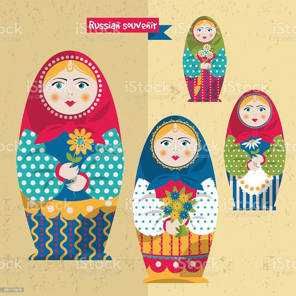 Russian traditional handmade doll. Matryoshka. Russian souvenir. vector art illustration