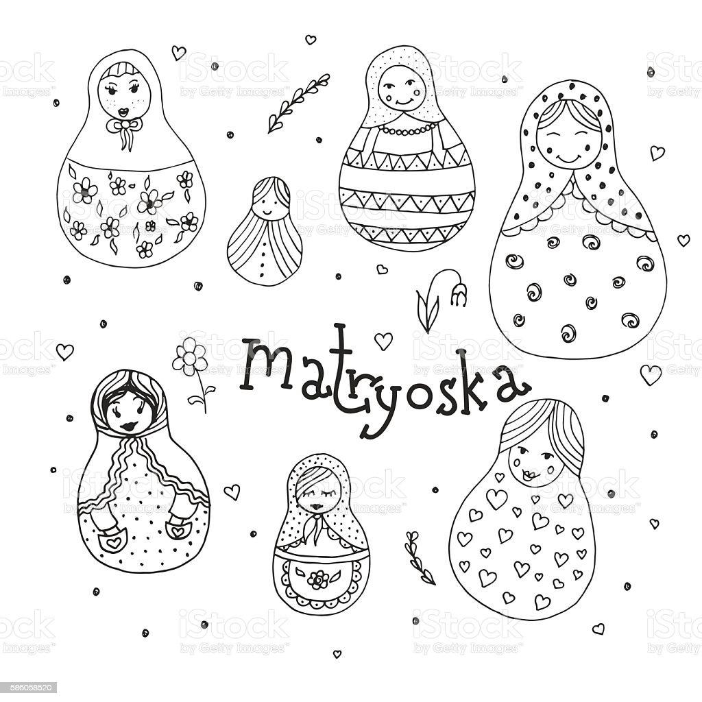 Russian traditional wooden toys, babushka, matryoshka, simple USSR elements. Hand vector art illustration