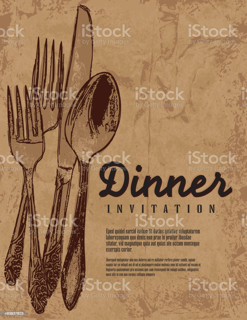 Rustic and country Dinner invitation background with antique silverware royalty-free stock vector art